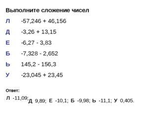Выполните сложение чисел Л-57,246 + 46,156 Д-3,26 + 13,15 Е-6,27 - 3,83 Б