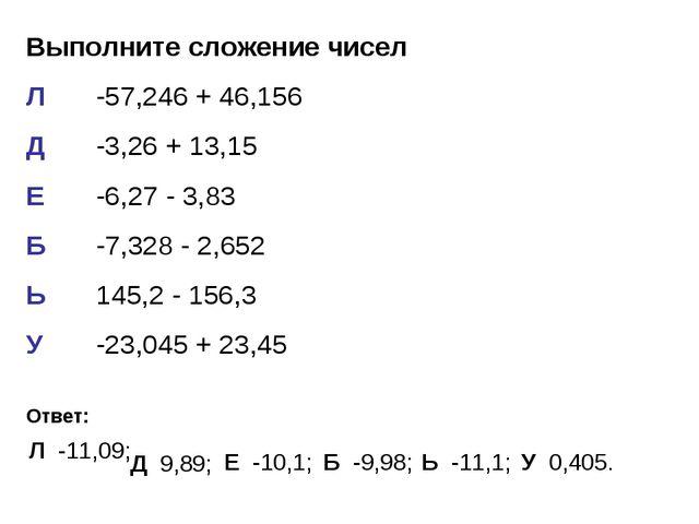 Выполните сложение чисел Л-57,246 + 46,156 Д-3,26 + 13,15 Е-6,27 - 3,83 Б...