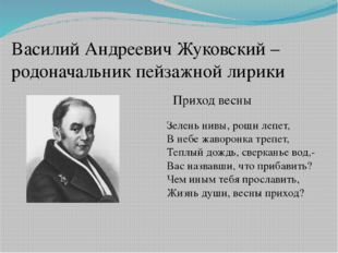 Василий Андреевич Жуковский – родоначальник пейзажной лирики Приход весны Зел