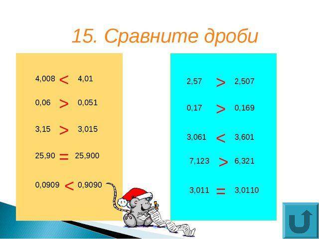 15. Сравните дроби 4,008 3,15 25,90 0,0909 0,9090 25,900 3,015 0,051 4,01 0,0...