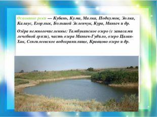 Основные реки — Кубань, Кума, Малка, Подкумок, Золка, Калаус, Егорлык, Большо