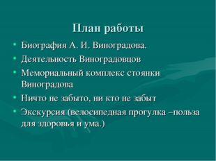 План работы Биография А. И. Виноградова. Деятельность Виноградовцов Мемориал