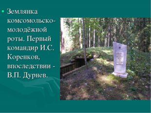 Землянка комсомольско-молодёжной роты. Первый командир И.С. Коренков, впослед