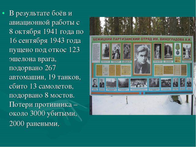 В результате боёв и авиационной работы с 8 октября 1941 года по 16 сентября 1...