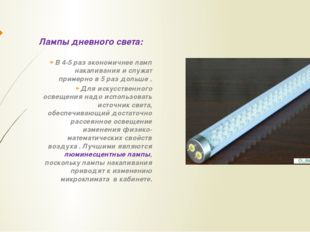 Лампы дневного света: В 4-5 раз экономичнее ламп накаливания и служат примерн