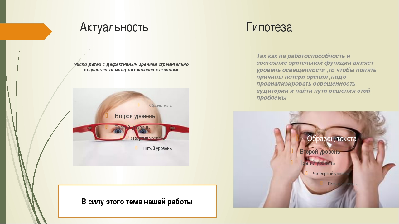 Актуальность Гипотеза Число детей с дефективным зрением стремительно возраста...