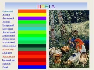 ЦВЕТА Оранжевый Жёлтый Фиолетовый Зелёный Изумрудный Бирюзовый Ярко-зел