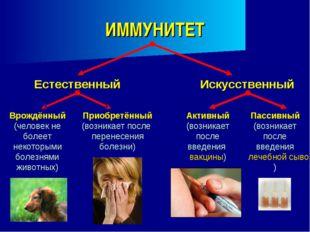 ИММУНИТЕТ Естественный Врождённый (человек не болеет некоторыми болезнями жив