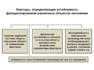 Факторы, определяющие устойчивость функционирования различных объектов эконом