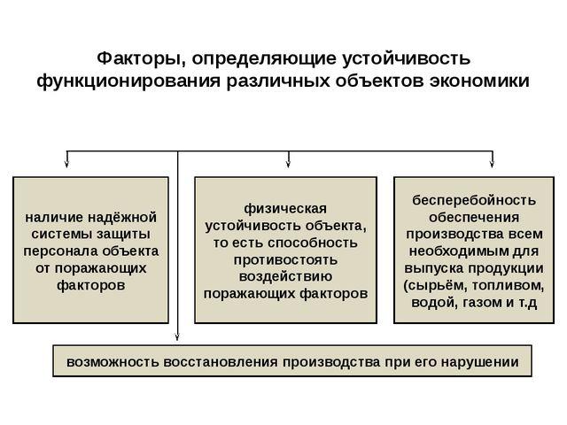 Факторы, определяющие устойчивость функционирования различных объектов эконом...