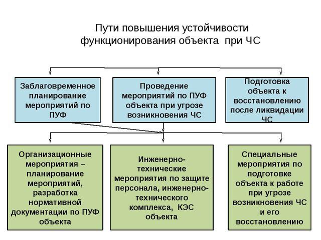 Пути повышения устойчивости функционирования объекта при ЧС Специальные мероп...