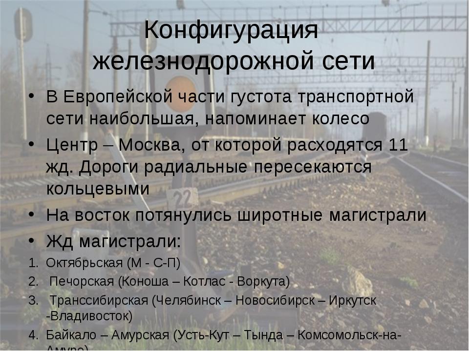 Конфигурация железнодорожной сети В Европейской части густота транспортной се...