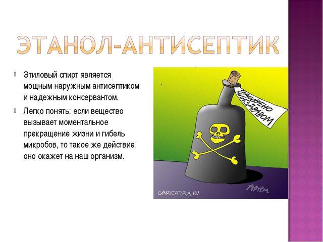 Этиловый спирт является мощным наружным антисептиком и надежным консервантом....