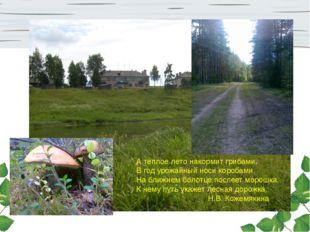 А теплое лето накормит грибами, В год урожайный носи коробами. На ближнем бол