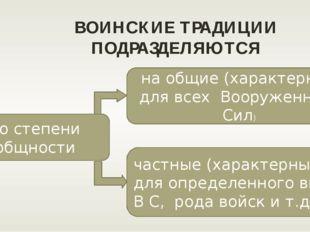 ВОИНСКИЕ ТРАДИЦИИ ПОДРАЗДЕЛЯЮТСЯ по степени общности на общие (характерные дл