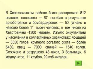 В Хвастовичском районе было расстреляно 812 человек, повешено — 67, погибло в