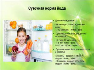 Суточная норма йода Для новорожденных - 0-6 месяцев: 110 мкг в день (мкг / де