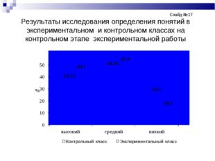 Слайд №17 Результаты исследования определения понятий в эксперименталь