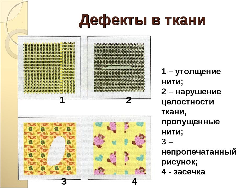 Дефекты в ткани 1 2 3 4 1 – утолщение нити; 2 – нарушение целостности ткани,...