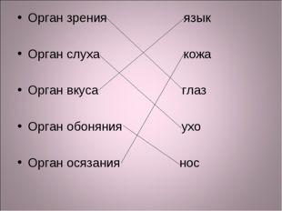 Орган зрения язык Орган слуха кожа Орган вкуса глаз Орган обоняния ухо Орган