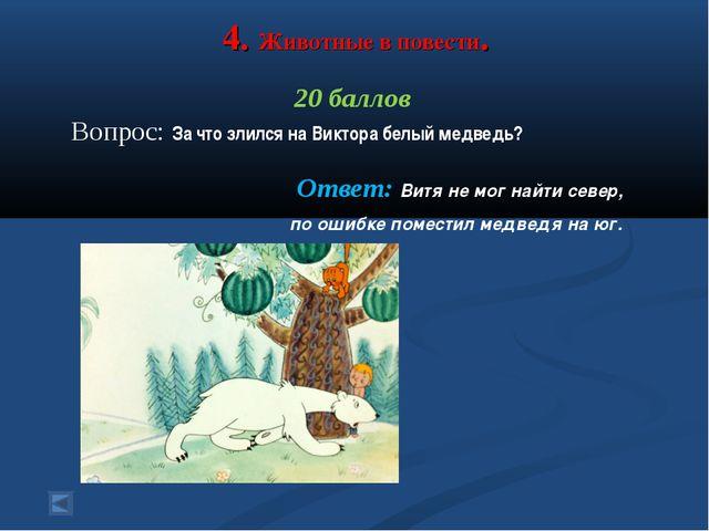 4. Животные в повести. 20 баллов Вопрос: За что злился на Виктора белый медве...