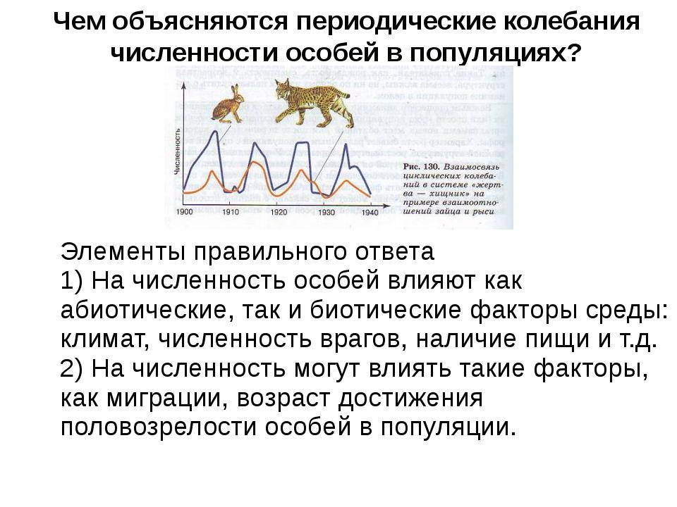 Чем объясняются периодические колебания численности особей в популяциях? Эле...