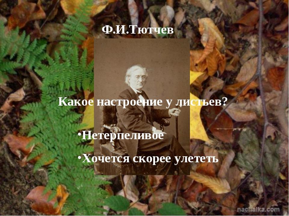 Ф.И.Тютчев Какое настроение у листьев? Нетерпеливое Хочется скорее улететь