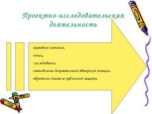 Проектно-исследовательская деятельность -активное познание, -поиск, - исследо