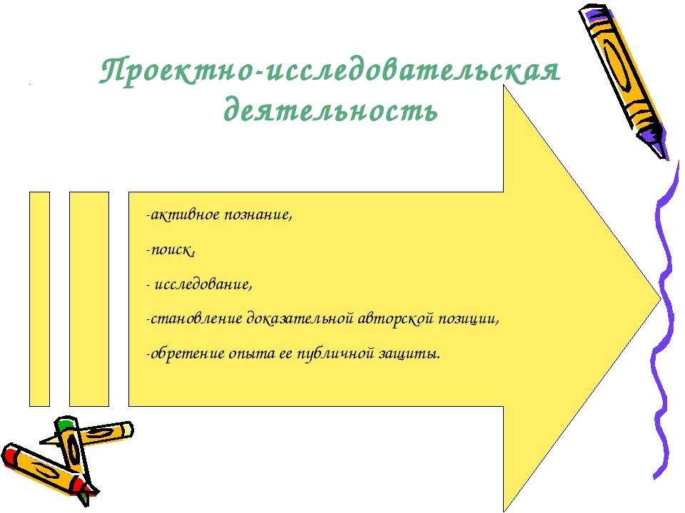 Проектно-исследовательская деятельность -активное познание, -поиск, - исследо...