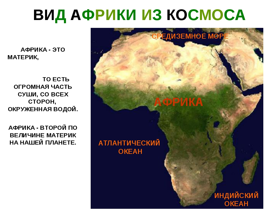 ВИД АФРИКИ ИЗ КОСМОСА АФРИКА - ЭТО МАТЕРИК, ТО ЕСТЬ ОГРОМНАЯ ЧАСТЬ СУШИ, СО В...