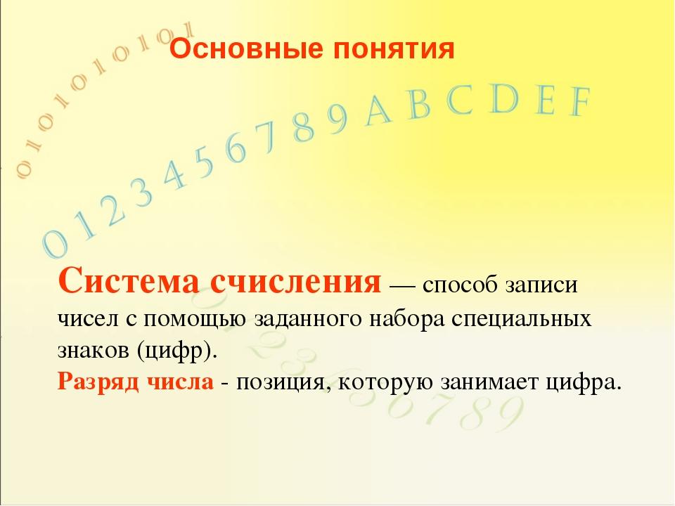 Основные понятия Система счисления — способ записи чисел с помощью заданного...