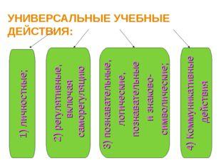 УНИВЕРСАЛЬНЫЕ УЧЕБНЫЕ ДЕЙСТВИЯ: 1) личностные; 2) регулятивные, включая самор