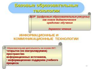 * ИНФОРМАЦИОННЫЕ И КОММУНИКАЦИОННЫЕ ТЕХНОЛОГИИ Базовые образовательные технол