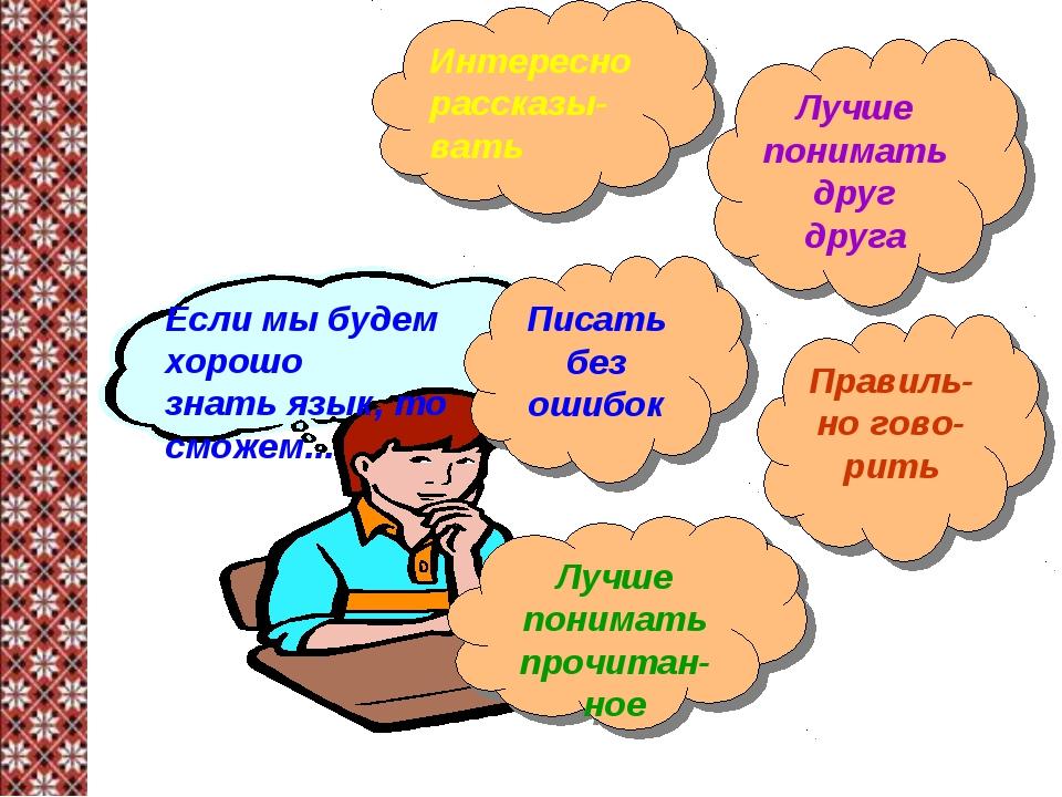 Если мы будем хорошо знать язык, то сможем... Интересно рассказы-вать Писать...