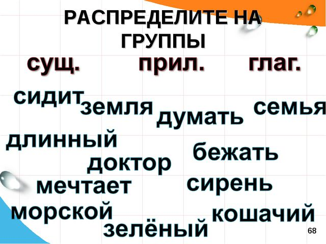 РАСПРЕДЕЛИТЕ НА ГРУППЫ 68