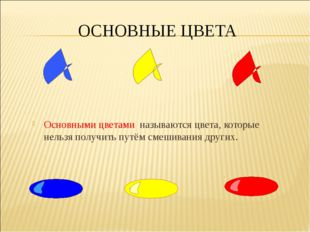 ОСНОВНЫЕ ЦВЕТА Основными цветами называются цвета, которые нельзя получить пу