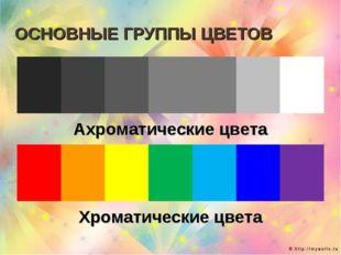 ОСНОВНЫЕ ГРУППЫ ЦВЕТОВ  Ахроматические цвета  Хроматические цвета