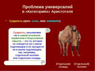 Проблема универсалий в «Категориях» Аристотеля (Отдельная) лошадь (Отдельный)