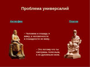 Проблема универсалий Антисфен Платон – Человека и лошадь я вижу, а человечнос