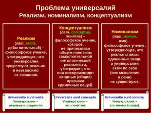 Проблема универсалий Реализм, номинализм, концептуализм Номинализм (лат. nome