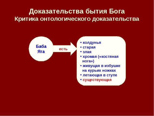 есть Доказательства бытия Бога Критика онтологического доказательства Баба Яг...