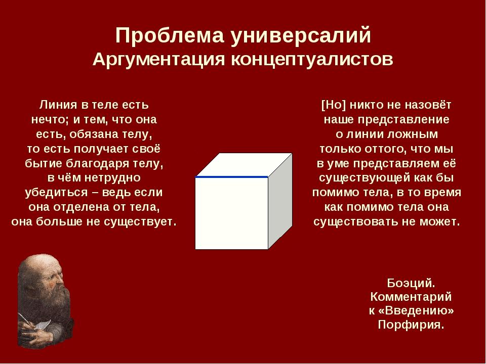 Проблема универсалий Аргументация концептуалистов Линия в теле есть нечто; и...
