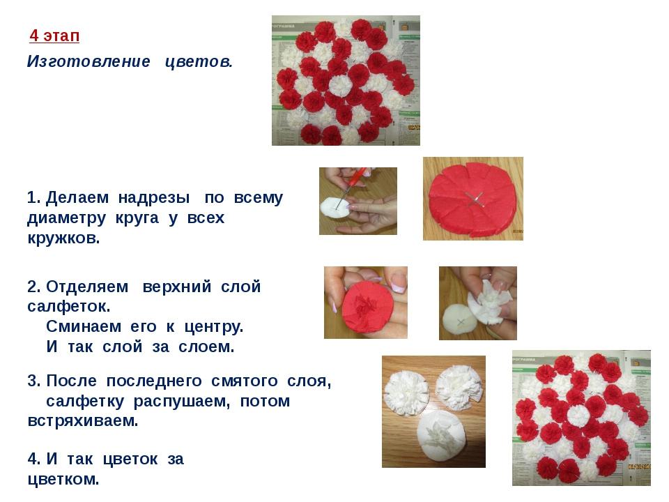 4 этап Изготовление цветов. 1. Делаем надрезы по всему диаметру круга у всех...