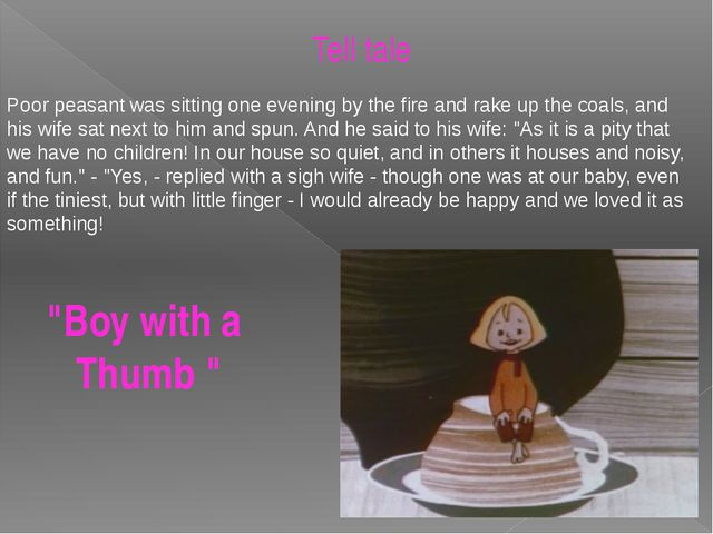 """""""Boy with a Thumb """" Tell tale Poor peasant was sitting one evening by the fir..."""