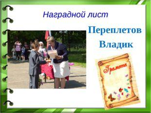 Наградной лист Переплетов Владик