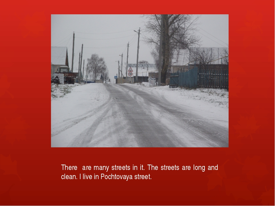 There are many streets in it. The streets are long and clean. I live in Pocht...