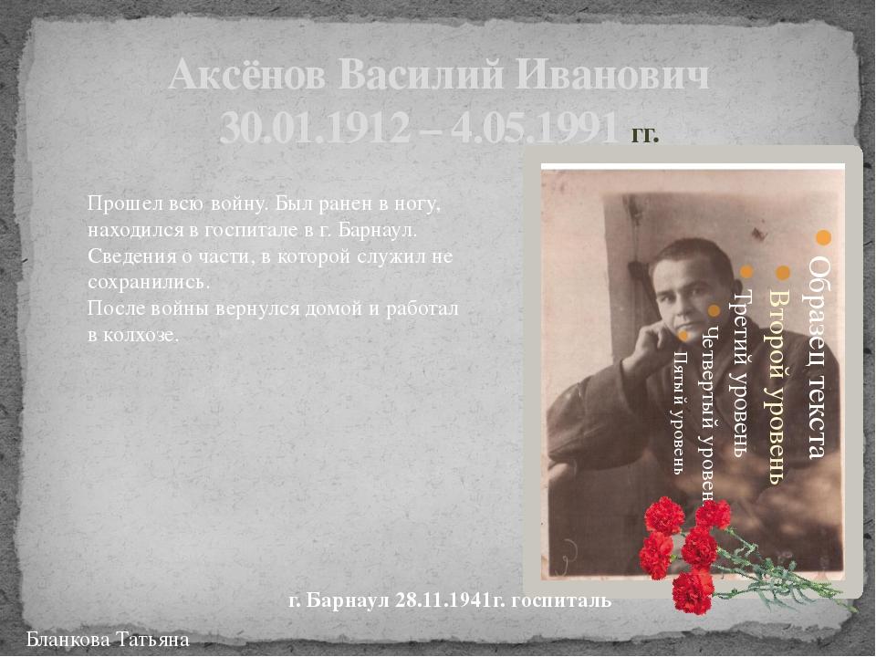 Аксёнов Василий Иванович 30.01.1912 – 4.05.1991 гг. г. Барнаул 28.11.1941г. г...