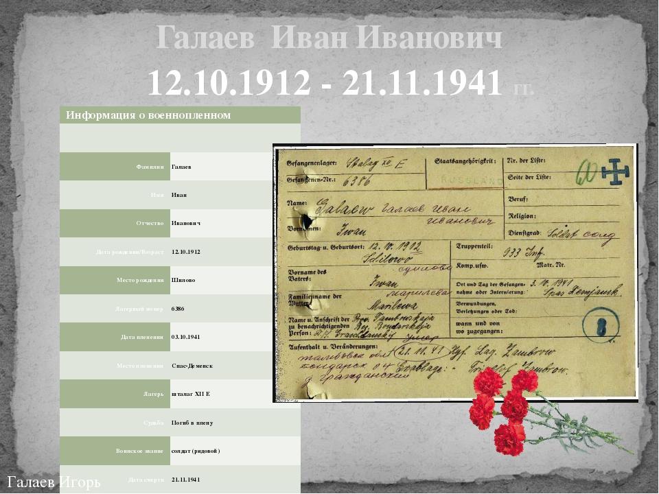 Галаев Иван Иванович 12.10.1912 - 21.11.1941 гг. Галаев Игорь Информация о во...