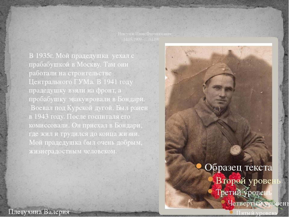 Никулов Иван Филиппович 14.05.1909 - …04.1990 гг. Плетухина Валерия В 1935г....