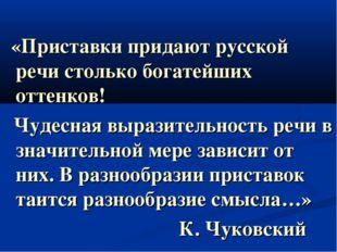 «Приставки придают русской речи столько богатейших оттенков! Чудесная вырази